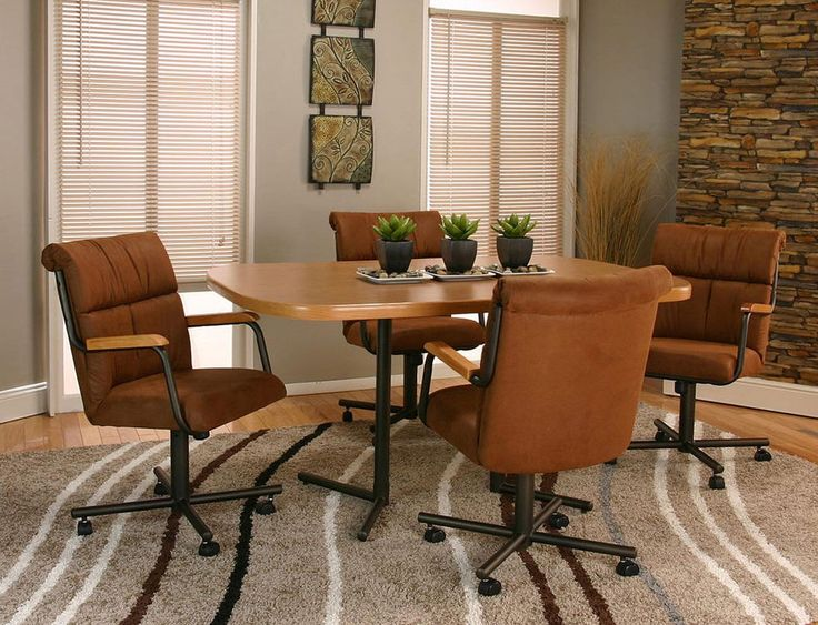 5 Piece CASTER DINING CHAIRS And TABLE SET With 4 Swivel