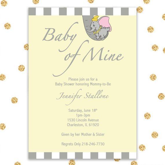 Dumbo Baby Shower Invite Only, Digital Invite, 5x7, Customizable