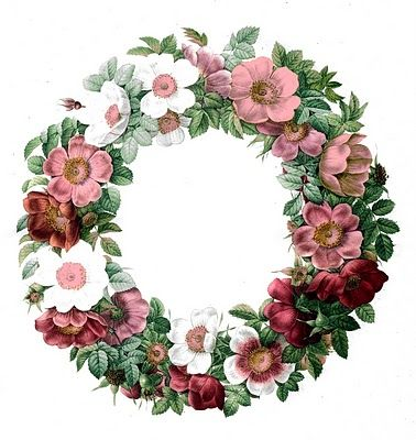 Free Vintage Clip Art | Rose Wreath | Today I'm offering a pretty antique floral wreath! So many pretty Roses! Wreaths would make great frames too!!