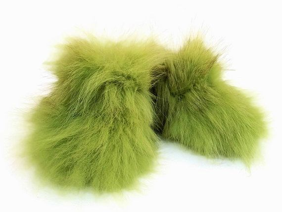 Spring Green Booties Infant Toddler New Born Bootees Real Fox Fur Flintstones…