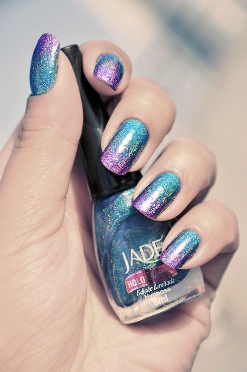 holographic #nails Jade holographic polish ombre nail art ...