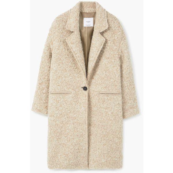 MANGO Lapels Wool Coat ($150) ❤ liked on Polyvore featuring outerwear, coats, jackets, mango, beige, beige wool coat, pink coat, lapel coat, beige coat and crochet coat