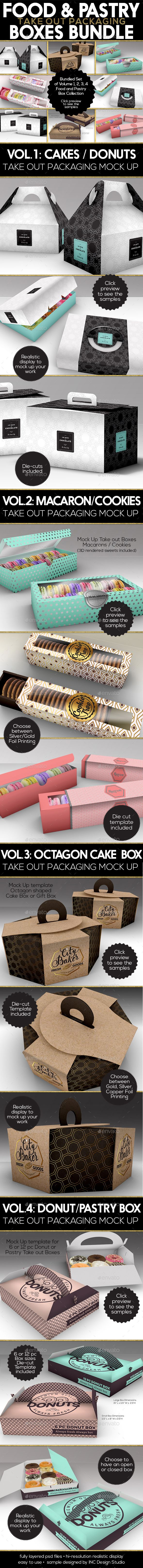 Food Pastry Boxes Mock Up Bundle: Take out Packaging Mock Ups by ina717 Food and Pastry Box Mock Up BundleThis bundle contains 4 volumes of the Food and Pastry Box CollectionA total of 13 PSD mock-ups