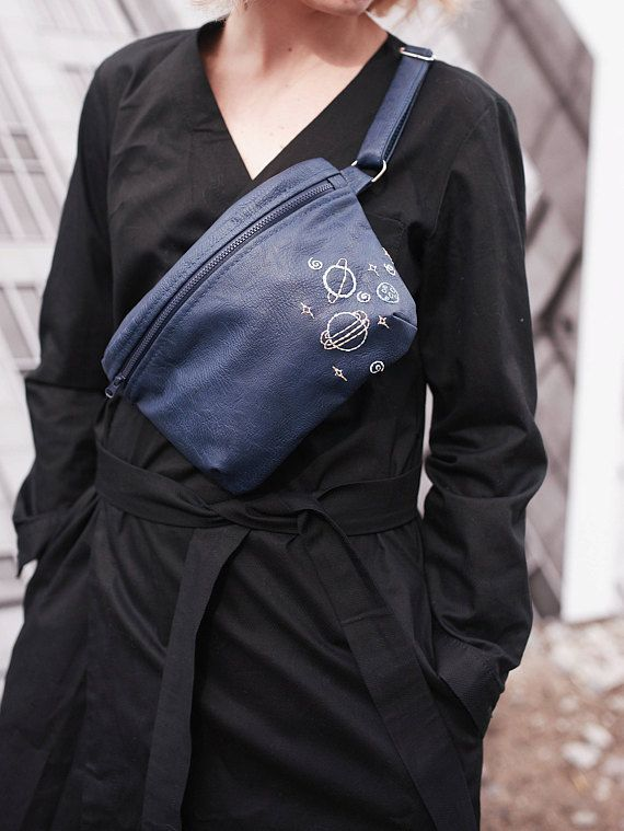 Blue waist-bag Hip bag ECO-leather Vegan leather Woman