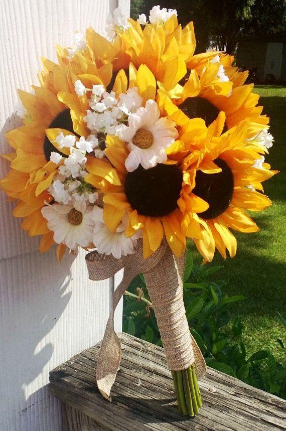 Sale   Sunflower Bouquet Sunflower Bridal by SilkFlowersByJean