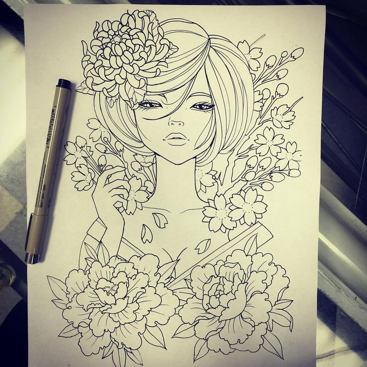 "Drawn for someone that ended up changing ideas. Based heavily on the style of Audrey Kawasaki, details can be changed to suit the customer.  This piece is available to be tattooed, if you'd like to take it, please call Classic Tattoo (804)-264-8002 ***I can not ""hold"" the design, first call, first serve!! ***"