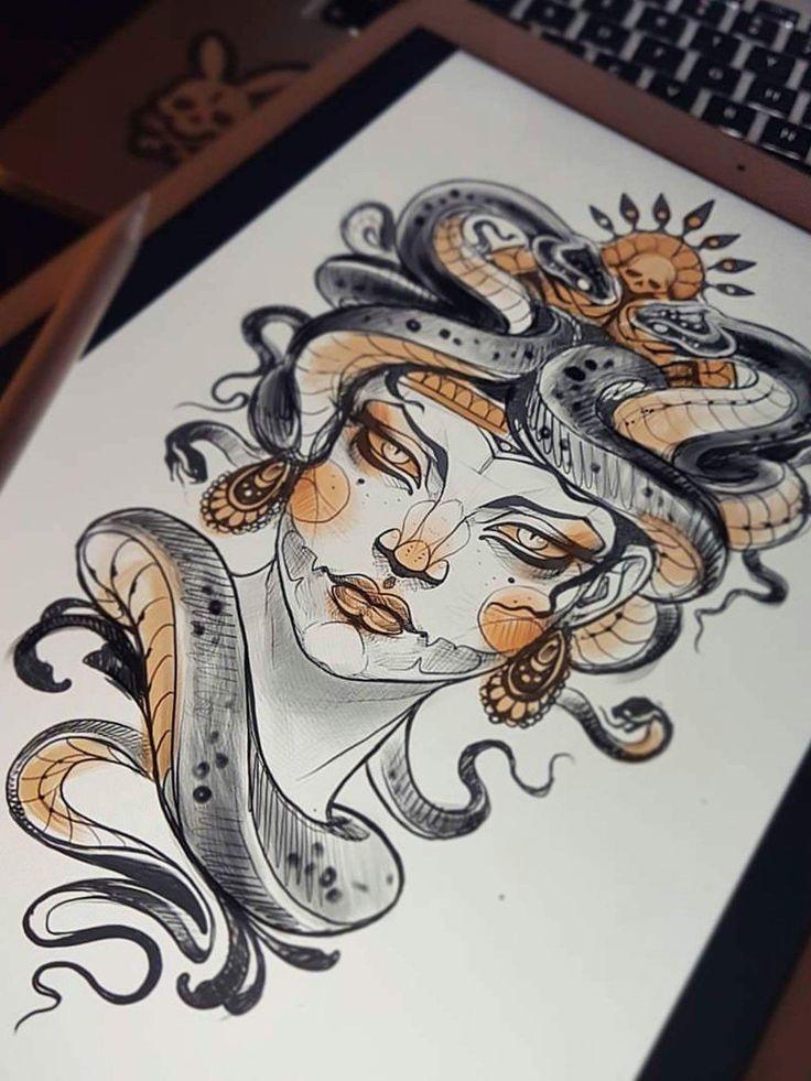 Schlangen zeichnen, Gesicht, Orange, Bronze, Porträt, Medusa