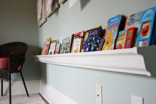 Rain gutter book shelf