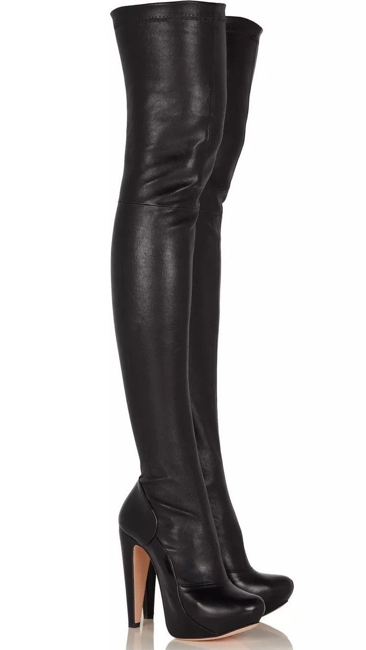ROLAND MOURET UK2.5 US5.5 IT35.5 BLACK LEATHER THIGH LONG SEXY PLATFORM BOOTS | eBay