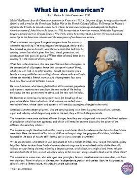 """US History Primary source letter from Hector St. Jean de Crevecoeur on """"What is an American?"""""""
