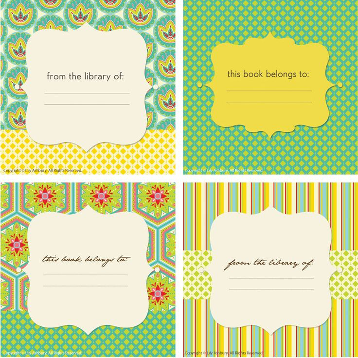 14 best Bookplate Labels \ Book Label Templates images on - name labels templates free