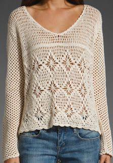 crocheted sweater...wish I could find a pattern for this
