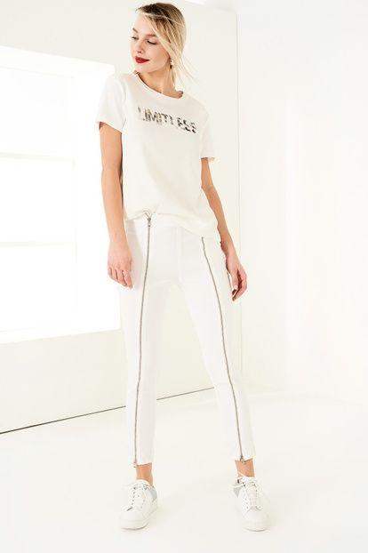 White Fermuar Detaylı Yüksek Bel Skinny Jean