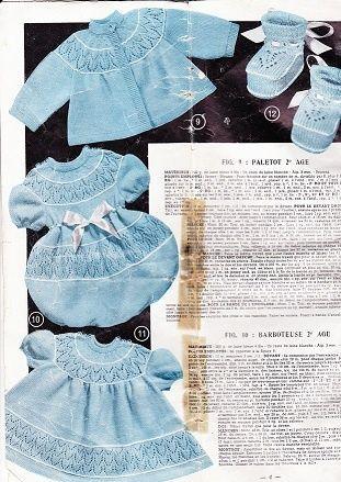 Un ensemble 2ème âge (1 an) extrait du magazine: tricot monde de 1959. Cliquer sur le lien pour obtenir les explications. - Paletot, barboteuse robe et chaussons.pdf