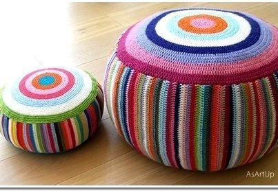 Multi-colored crocheted poufs