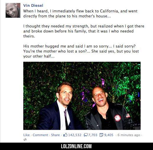 Vin Diesel on Paul Walker's Death#funny #lol #lolzonline
