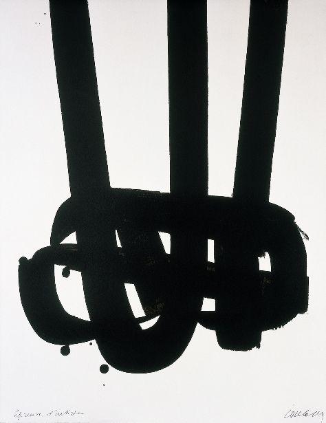 PIERRE SOULAGES, Lithographie n°29, 1972. Photograph by F. Walch © ADAGP, Paris 2009. / Europian Cultural News