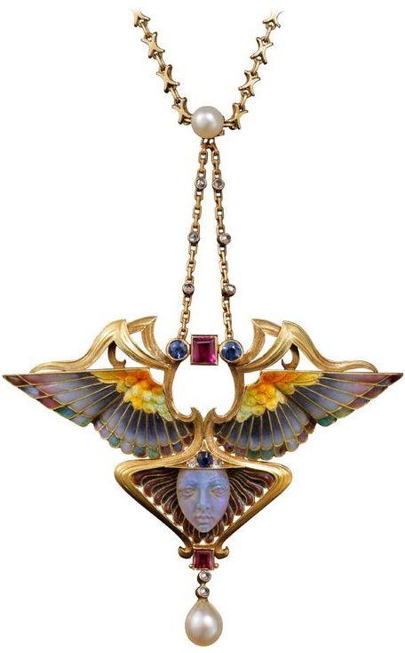 Philippe Wolfers ~ Nike Enamel Ruby Emerald Diamond Gold Pendant