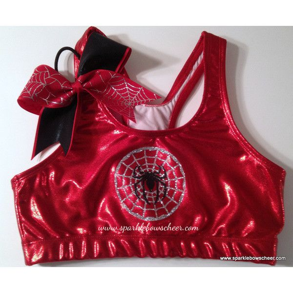 Silver Spiderman Super Hero Metallic Sports Bra and Bow Set... ($39) ❤ liked on Polyvore featuring activewear, sports bras, brown, women's clothing, athletic sportswear, silver sports bra, metallic sports bra and red sports bra