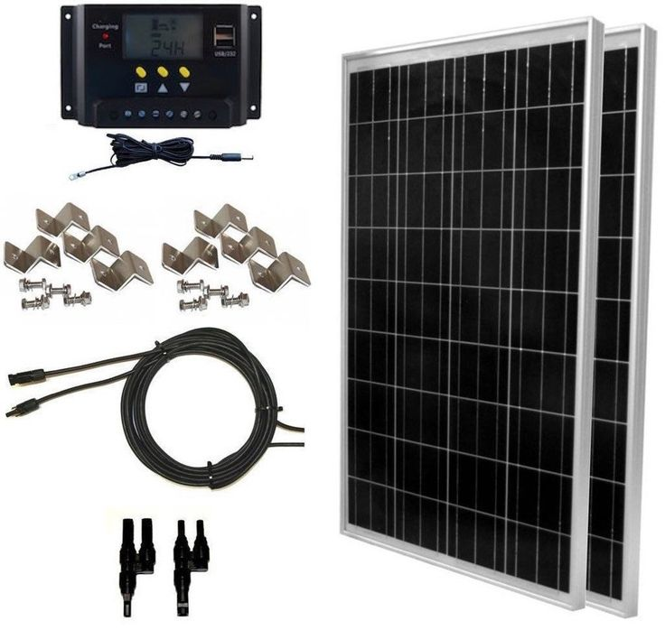 Global Solar Supply  200 Watt Solar Panel Kit: 2pcs 100W Solar Panels   30A LMS, PWM Charge Controller   Solar Cable   MC4 Connectors   Mounting Brackets for Off-Grid RV Boat