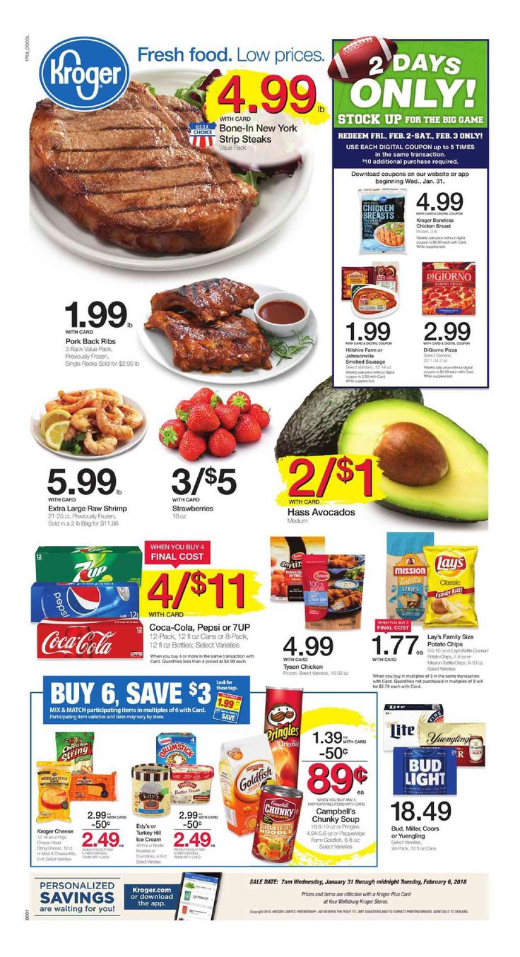 Kroger Weekly ad January 31 – February 6, 2018 – Search latest kroger weekly ad here and find digital coupons, Free Friday Download PowerBar, view Recipe Menu, grocery savings, kroger store location, sale prices, deli /Bakery, latest Promotions and the great deals from kroger. See...