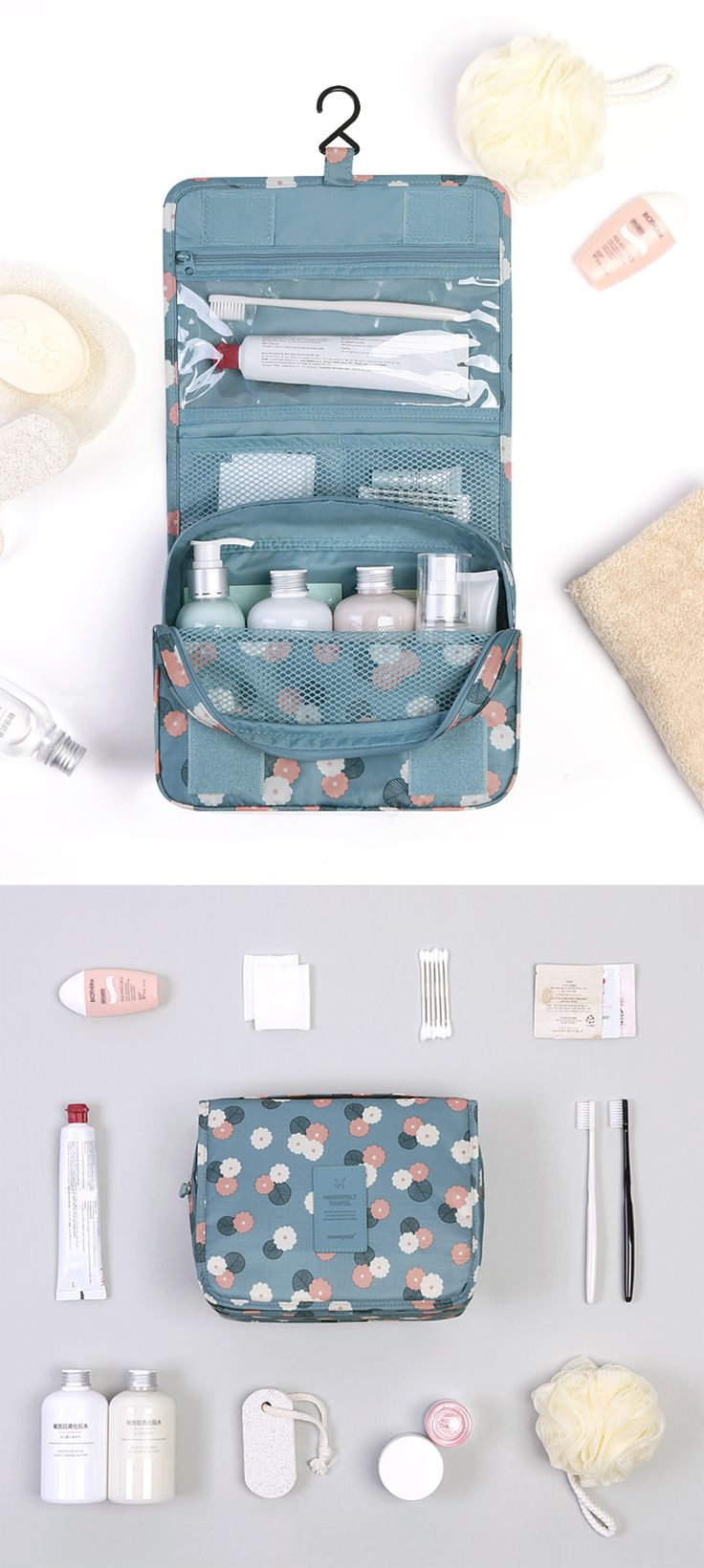 This Pattern Toiletry Pouch is both cute and functional equipped with 1 zippered PVC pocket, 2 mesh pockets, 1 main compartment and 1 back pocket. Store as much as you can fit, including wet items, as this pouch is made of polyester and non hazardous PVC making it waterproof and resistant to tearing and ripping.  The pocket on the back is perfect for easily accessible items such as magazines or electronic devices. Use this versatile item as a baby pouch, travel pouch, a makeup pouch and…