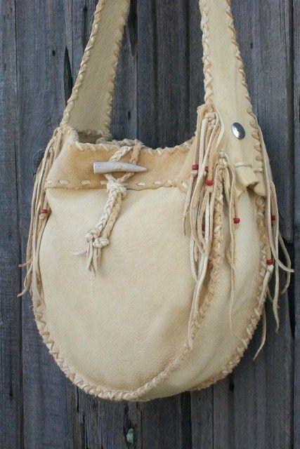 Leather drum bag Buckskin leather crossbody bag by thunderrose