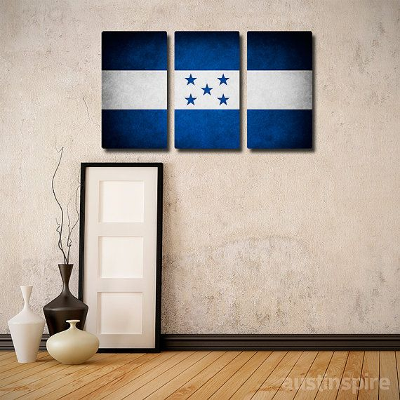 The Original Honduras Flag Triptych Canvas Metal or by Austinspire