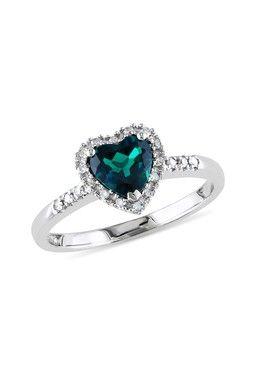 soooooooooooooo prettttttttttttttttttty  10K White Gold Created Emerald & Diamond Heart Ring