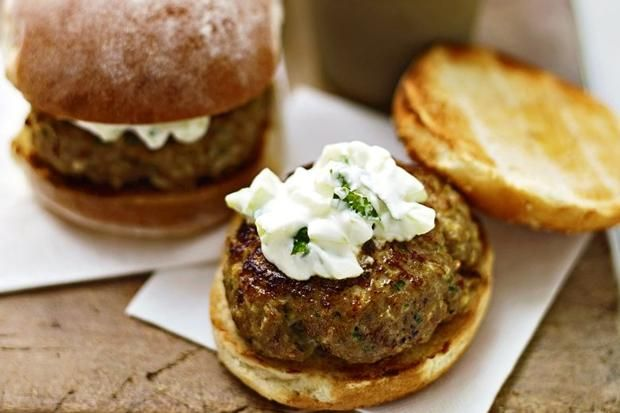 Lorraine Pascale's minted barbecue lamb burgers, recipe taken from Home Cooking Made Easy