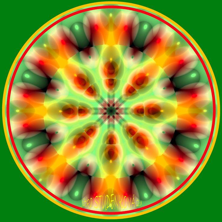 Mandala č.6 - nadšení Mandala podporuje vytrvalost a udržení si nadšení potřebné k dosahování cílů, napomáhá setrvat ve stále stejném a pravidelném tempu. počítačová grafika, rozměr 30x30 cm, laminováno jako ochrana proti UV záření dodáváno bez vodoznaku