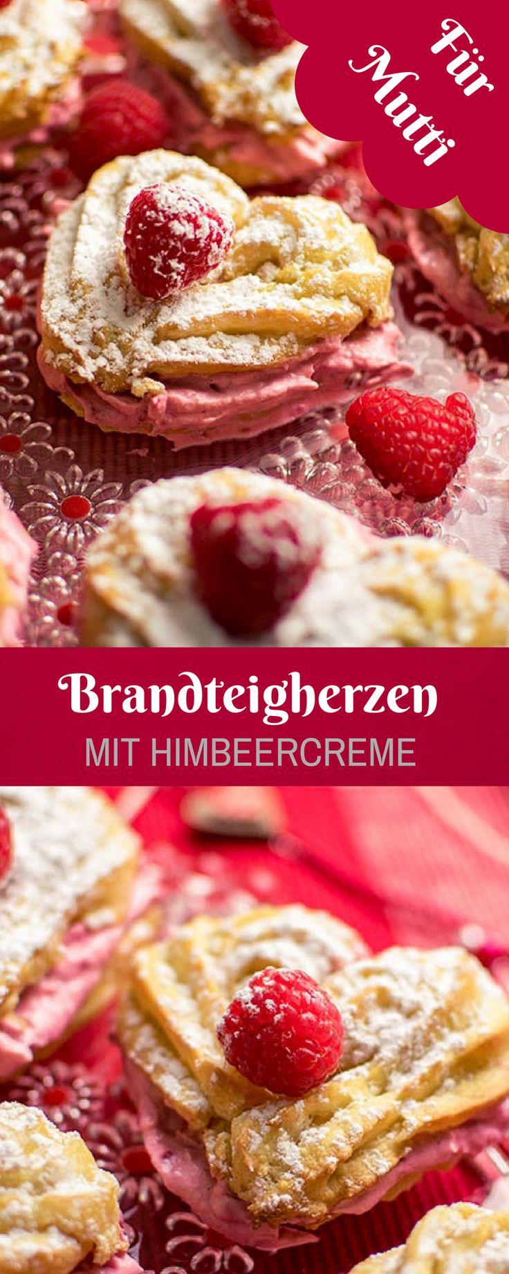 Muttertagsrezept - Brandteigherzen mit Himbeercreme. Super lecker und für Muttertag oder Valentinstag bestens geeignet.