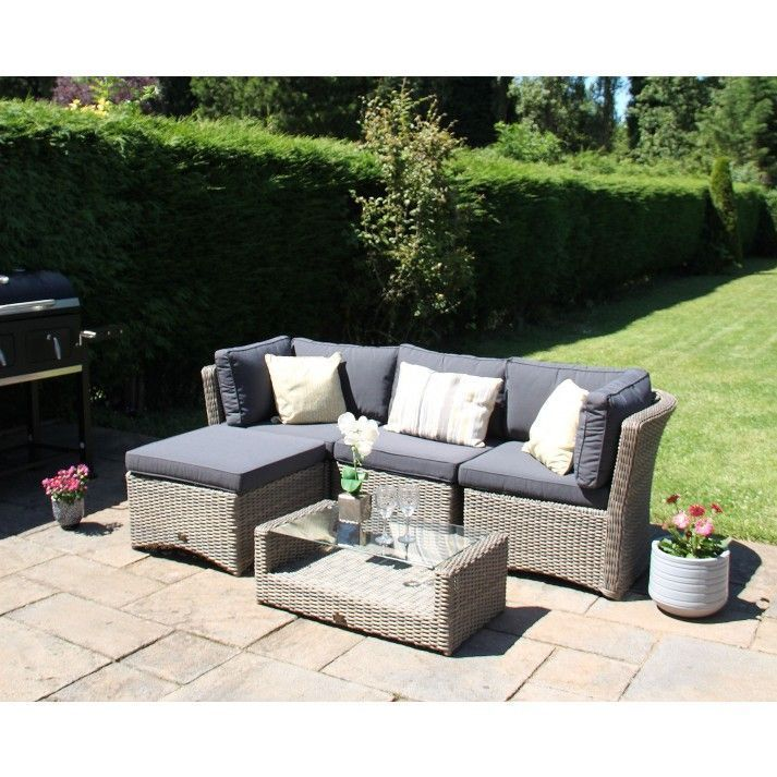 5pc High Back Modular Corner Sofa Rattan Furniture Set Natural