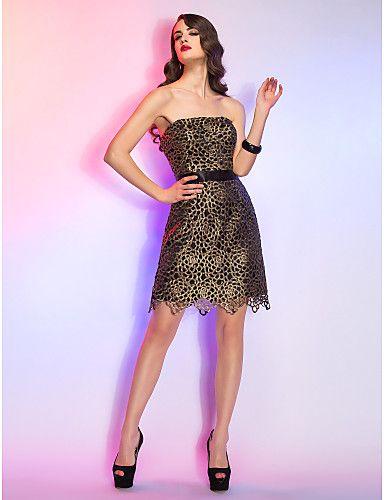 Θήκη / Στήλη στράπλες Short / Mini Lace φόρεμα κοκτέιλ – USD $ 119.99