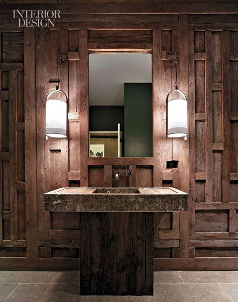 Teak paneling in a treatment room's bathroom came from the facade of a Thai house dating to the mid-19th century