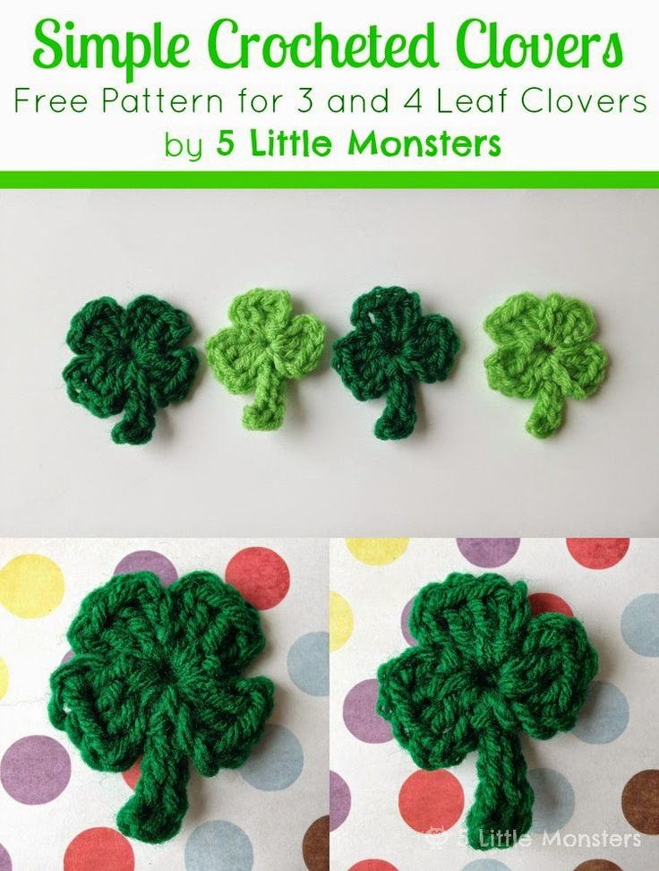Five Little Monsters: Super Simple Crocheted Clovers http://fivelittlemonstersshop.blogspot.com/