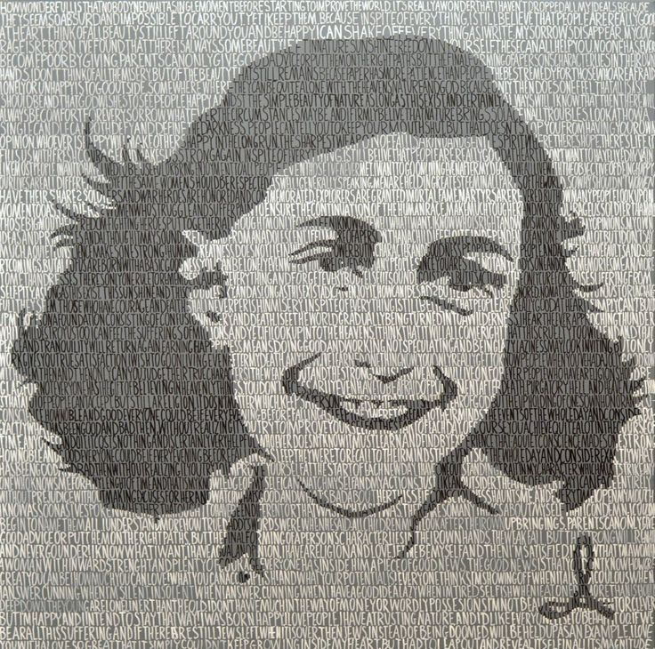 Buy Anne, a Acrylic on Canvas by Andrzej Lenard from Poland. It portrays: Portrait, relevant to: painting, portrait, black, white, writing, calligraphy, anne, diary, frank, grey, letters This work is inspired by Anne Frank's diaries. Portrait is written with quotes from her book. I choose to write this portrait, because it's her own words that made her immortal.