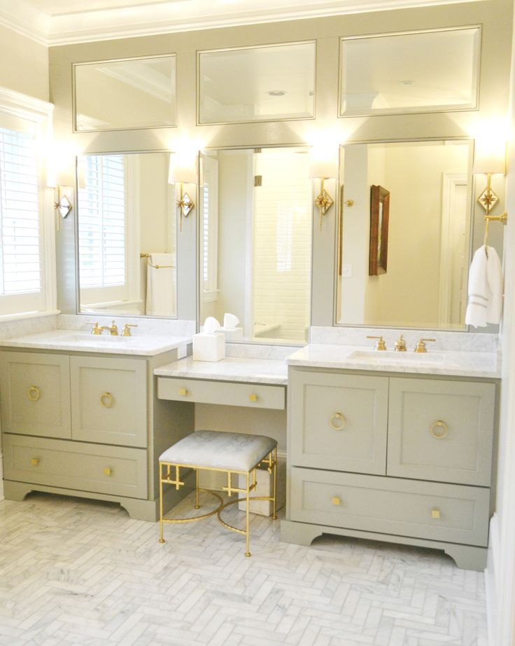 like this cabinet layout mirrors brass handles and vanity area for a small space in the master bath would prefer if cabinets were black