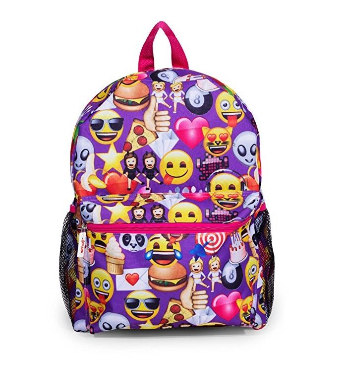 Purple Emoji Emojination Backpack School Bag 16 inch #Emoji #Backpack