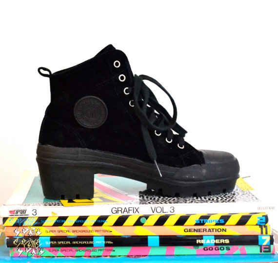 Chunky-heeled high-top sneakers.