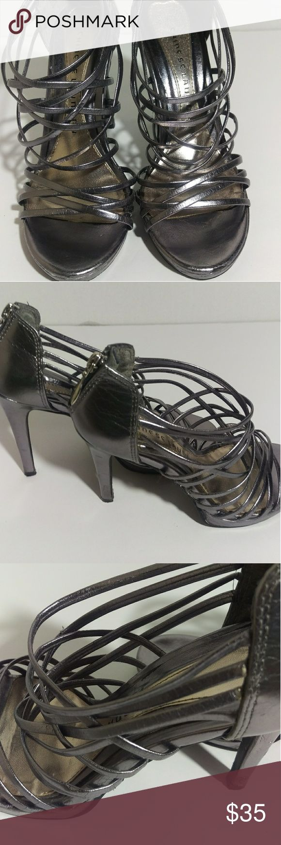 Chinese Laundry Pewter /Gray Strappy Sandals Chinese Laundry Pewter /Gray Strappy Sandals. Zipper up the back.  Size 6M. Heels are 4 inches tall. All made made material. Chinese Laundry Shoes Heels