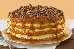 Luscious Four-Layer Pumpkin Cake ~ Previous pinner wrote: I make this every Thanksgiving, delicious and easy. I could eat the filling all by itself.