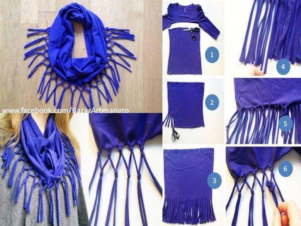 zelf kleding maken | toffe sjaal gemaakt van een oud shirt Door hihihi