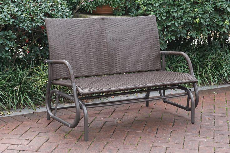 $141 Amazon.com : Outdoor Patio Yard Glider Loveseat Bench High Back PE Wicker Rattan Iron Frame Color Coffee : Patio, Lawn & Garden