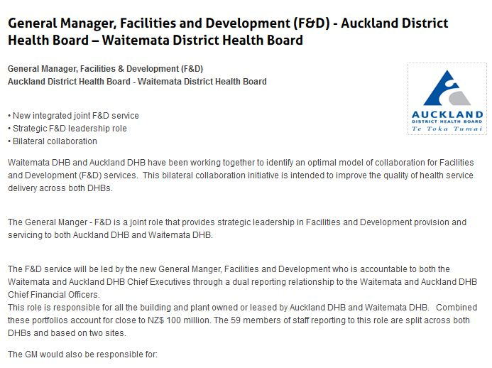 General Manager, Facilities and Development (F&D) - Auckland District Health Board – Waitemata District Health Board  General Manager, Facilities & Development (F&D) Auckland District Health Board - Waitemata District Health Board