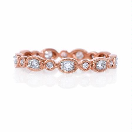 Diamond Antique Style 14k Rose Gold Eternity Ring(#5573)      Firenze Jewels