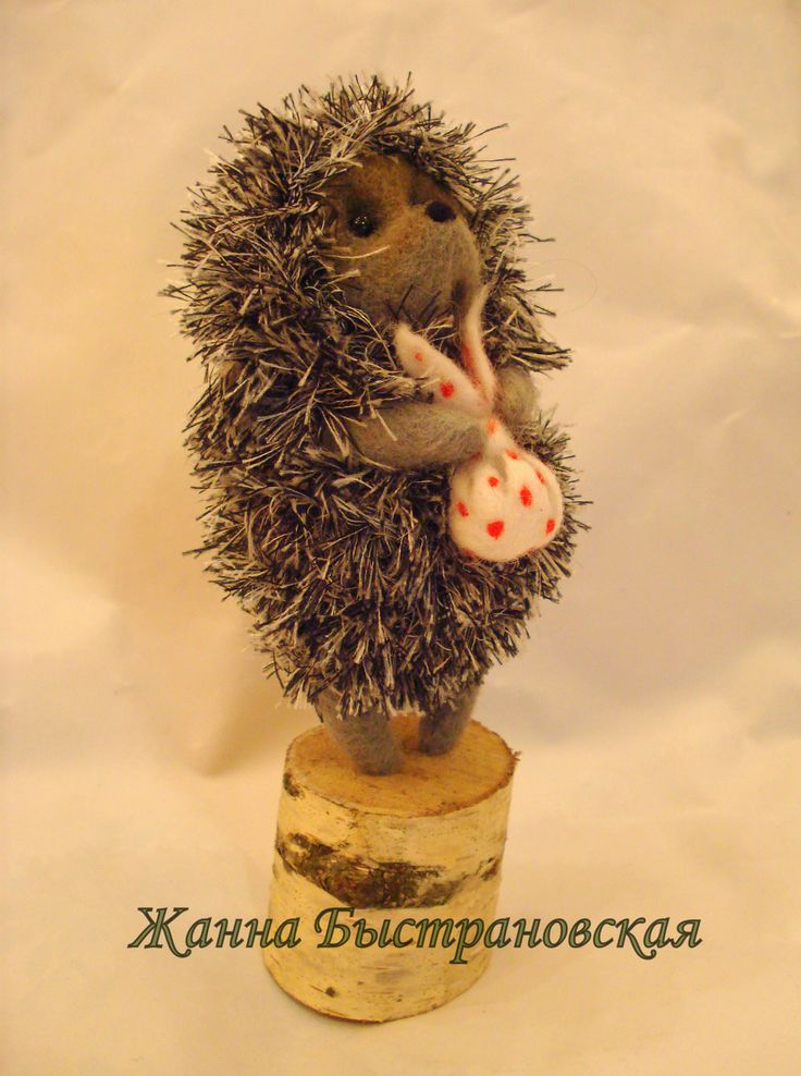 """Интерьерная скульптура игрушка """"Ежик в тумане"""" (шерсть/дерево)"""