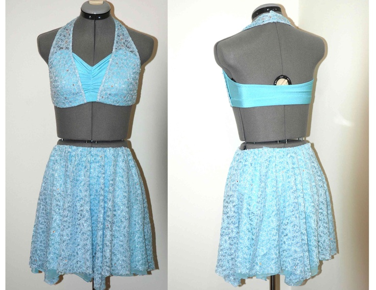 www.glitzagain.com --- Blue lyrical Dance Costume. Lace, Contemporary, Tween, Adult Small, Halter top