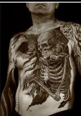 Detailed skeleton tattoo