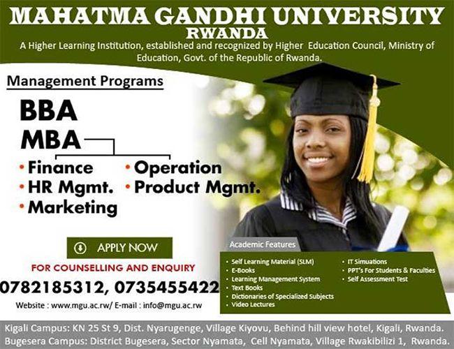Kaminuza yitiriwe Mahtma Gandhi mu Rwanda, igiye gutanga buruse 1000 ku banyarwanda   Visit Online- www.mgu.ac.rw